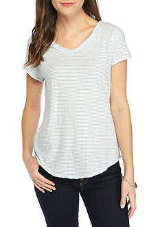 New Directions Weekend EDV Tiny Stripe Double V Neck Tee
