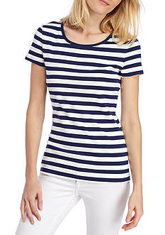 New Directions Weekend Short Sleeve Striped Rib Tee