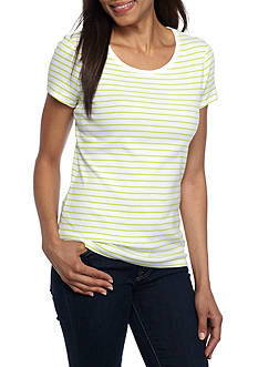 New Directions Weekend Short Sleeve Rib Oasis Striped Tee