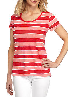 New Directions Weekend Short Sleeve Striped Halo Hem Tee