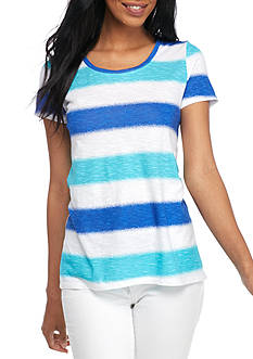 New Directions Weekend EDV Heather Stripe Halo Hem Tee