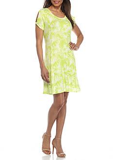 New Directions Weekend Tie Dye Split Sleeve Dress