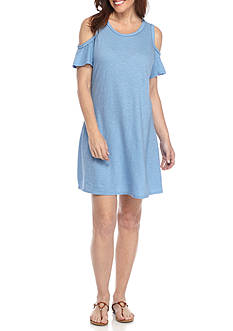 New Directions® Weekend Braided Neck Cold Shoulder Dress