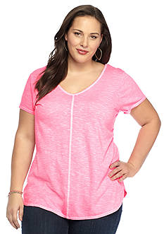New Directions® Weekend Plus Size Double V Core Tee