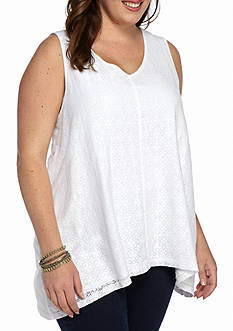 New Directions Weekend Plus Size Crochet Sharkbite Tank