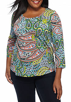 New Directions Weekend Plus Size Slub Core Print Top