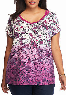 New Directions Weekend Plus Size Cutout Printed Top
