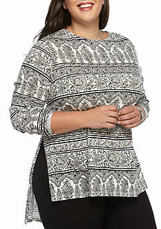New Directions Weekend Plus Size Long Sleeve Side Slit Tunic