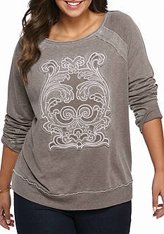 New Directions Weekend Plus Size Raglan applique Sweater
