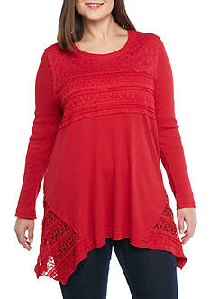 New Directions® Plus Size Lace Detail Top