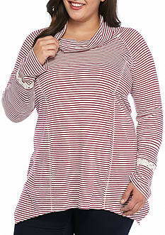 New Directions Weekend Plus Size Embroidered Cowl Neck Top