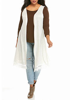New Directions Weekend Plus Size Crochet Trim Duster Vest