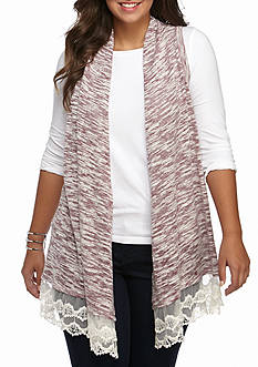 New Directions Weekend Plus Size Lace Hem Vest