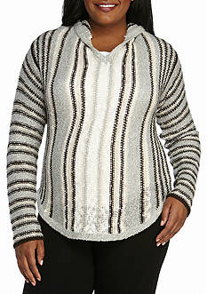 New Directions Weekend Plus Size Hooded Striped Sweater