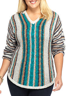 New Directions® Weekend Plus Size Hooded Striped Sweater