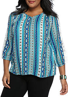 New Directions® Weekend Plus Size Sheer Twin Print Top