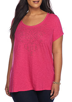 New Directions Weekend Plus Size Embellished Bar Back Knit Top