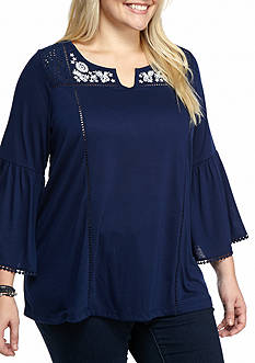 New Directions Weekend Plus Size Embroidered Peasant Top