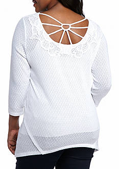 New Directions Weekend Plus Size Crochet Back Loose Knit Sweater