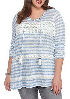 New Directions Plus Size Lace Panel Knit Tunic