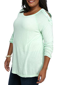 New Directions Weekend Plus Size Embroidered Cold Shoulder Tee