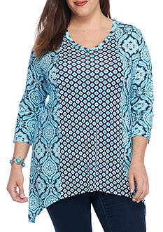 New Directions Plus Size Sharkbite Knit Twin Tunic