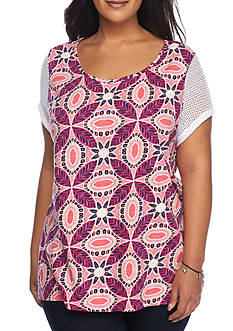 New Directions Weekend Plus Size Short Sleeve Keyhole and Tassel Tie Top