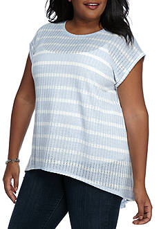 New Directions Weekend Plus Size Stripe Knit Top