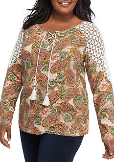 New Directions Weekend Plus-Size Lace Shoulder Top
