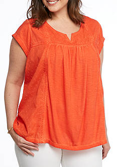 New Directions Plus Size Embroidered Side Knit Top