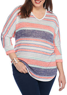 New Directions Weekend Plus Size Printed Loose Knit Jersey Top