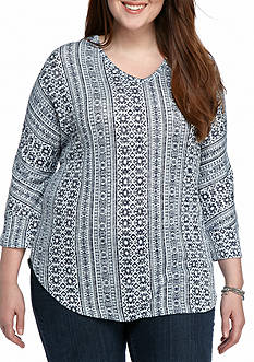 New Directions Weekend Plus Size Hacci Stripe Top