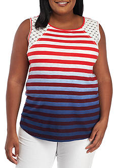 New Directions Weekend Plus Size Sleeveless Crochet Trim Top