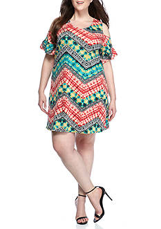 New Directions® Weekend Plus Size Chevron Cold Shoulder Printed Dress