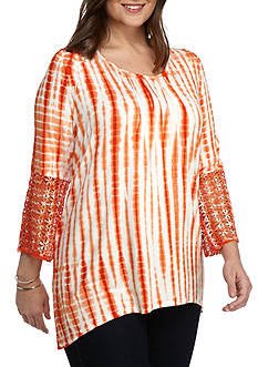 New Directions® Weekend Plus Size Pleated Front Tie Dye Top