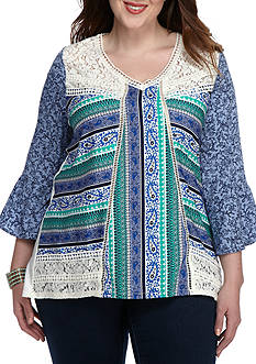 New Directions Weekend Plus Size Lacey Mixed Media Top