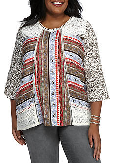 New Directions® Weekend Plus Size Lacey Mixed Media Top