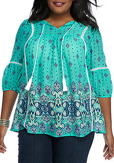 New Directions Weekend Plus Size Border Print Peasant Top