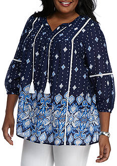 New Directions® Weekend Plus Size Border Print Peasant Top