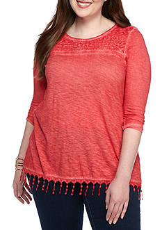New Directions Plus Size Three-Quarter Sleeve Tunic