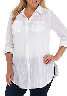 New Directions Weekend Plus Size Button Front Tunic