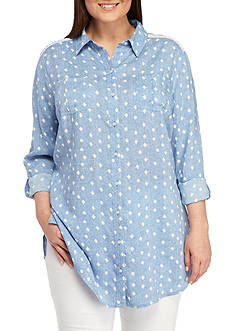 New Directions Weekend Plus Size Button Down Tunic