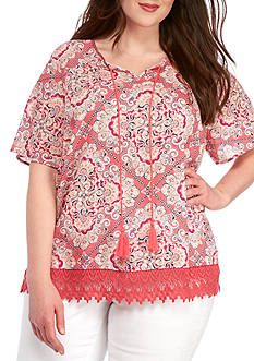 New Directions Weekend Plus Size Crochet Hem Tassel Tie Shirt
