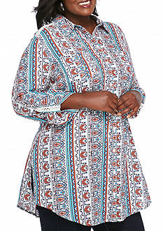 New Directions Plus Size Button Up Tunic