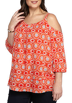 New Directions® Weekend Plus Size Cold Shoulder Medallion Top