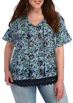 New Directions Weekend Plus Size Crochet Hem Tassel Tie Shirt