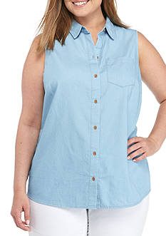 New Directions Weekend Plus Size Sleeveless Chambray Woven Top