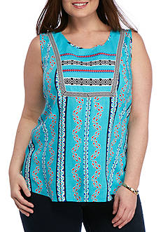 New Directions Weekend Plus Size Embroidered Yoke Printed Top