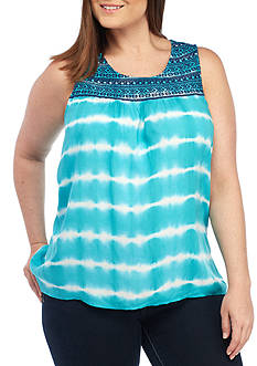 New Directions Weekend Plus Size Tie Dye Embroidered Yoke Tank