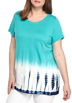 New Directions Weekend Plus Size Tie Dye With Bar Back Tee